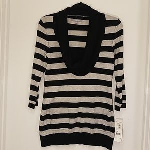 NY Collection Striped Cowl Neck Sweater
